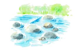 滝の水彩画